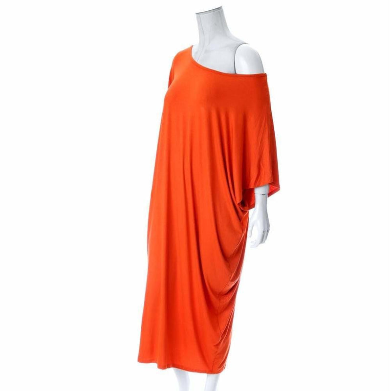 Plus Size Off Shoulder Bias Tunic, Orange