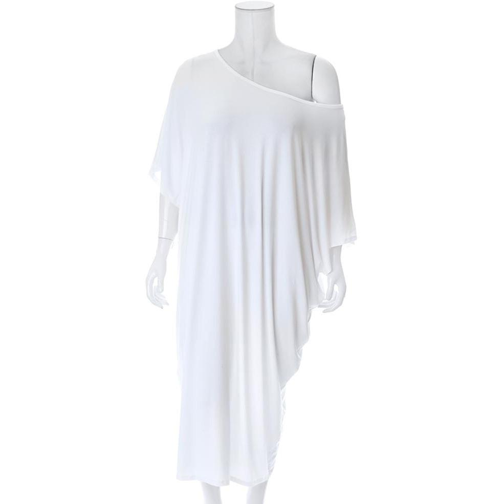 Plus Size Off Shoulder Bias Tunic, White