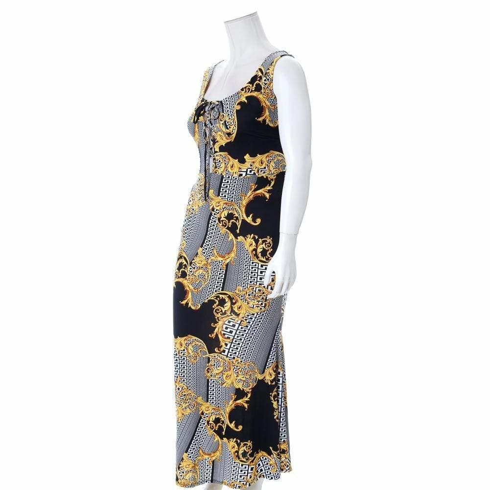 Plus Size Lace Up Maxi Dress, Black and Gold Mix Print