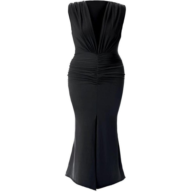 Plus Size Plunge Front Sleeveless Maxi Dress, Black