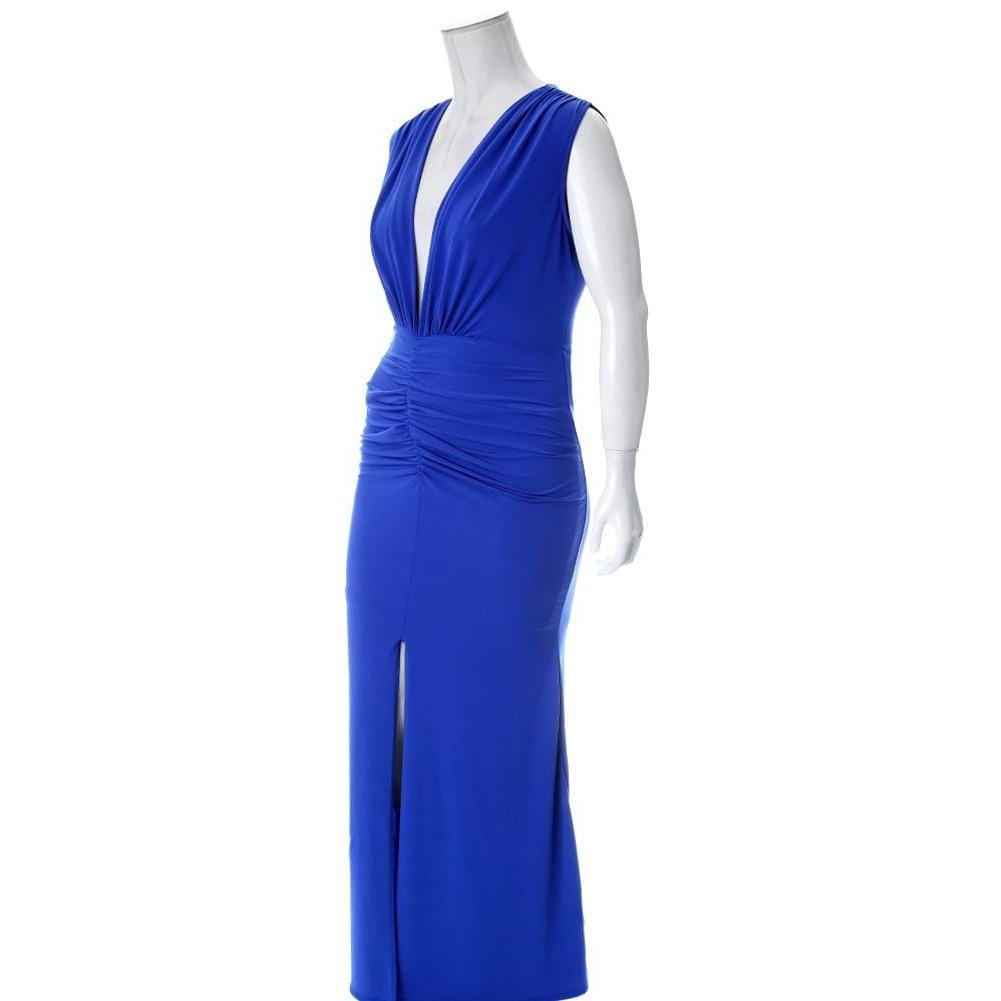 Plus Size Plunge Front Sleeveless Maxi Dress, Blue