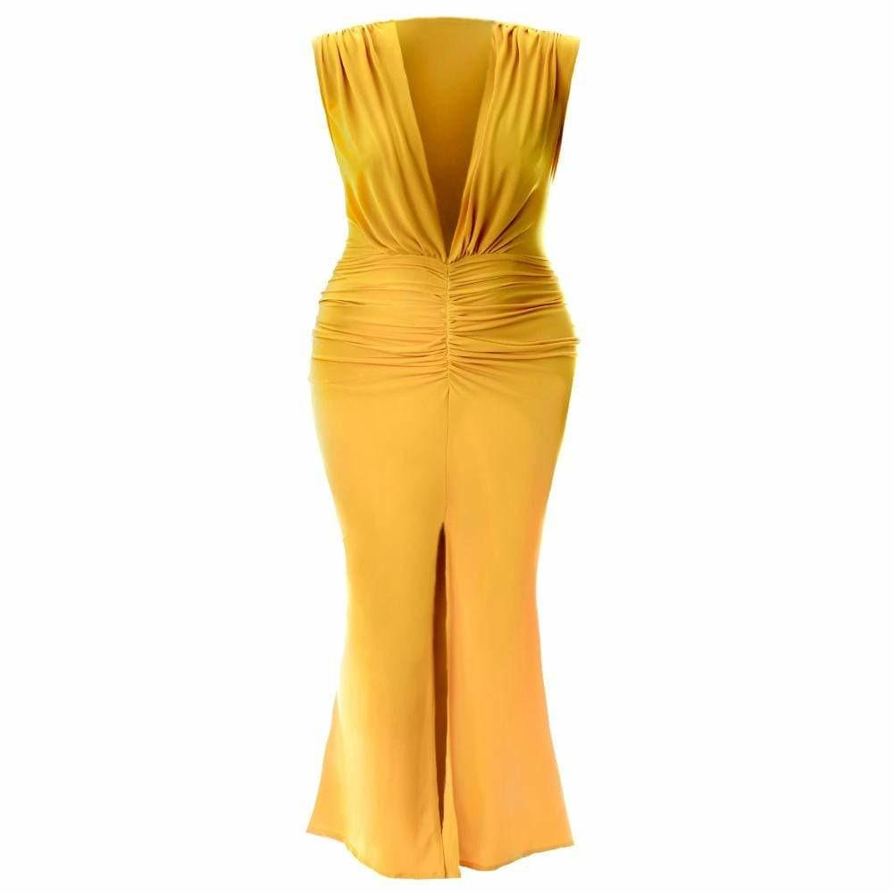 Plus Size Plunge Front Sleeveless Maxi Dress, Mustard