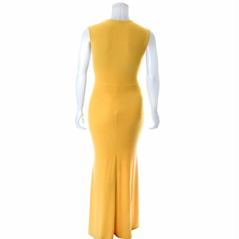 Posh Shoppe: Plus Size Plunge Front Sleeveless Maxi Dress, Mustard Dress
