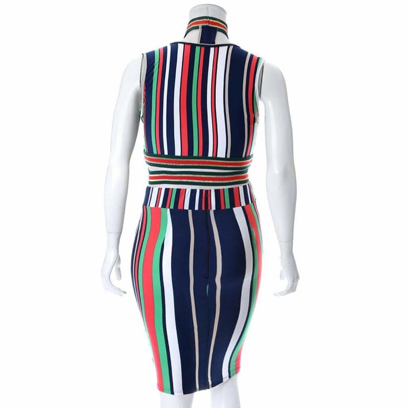 Plus Size Stripe Choker Top and Skirt Set with Trim