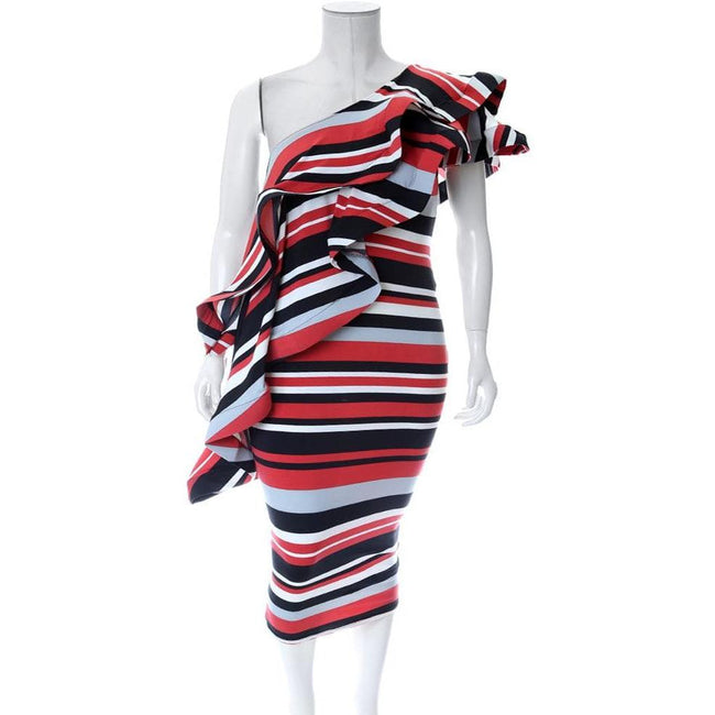 Plus Size One Shoulder Striped Ruffle Midi