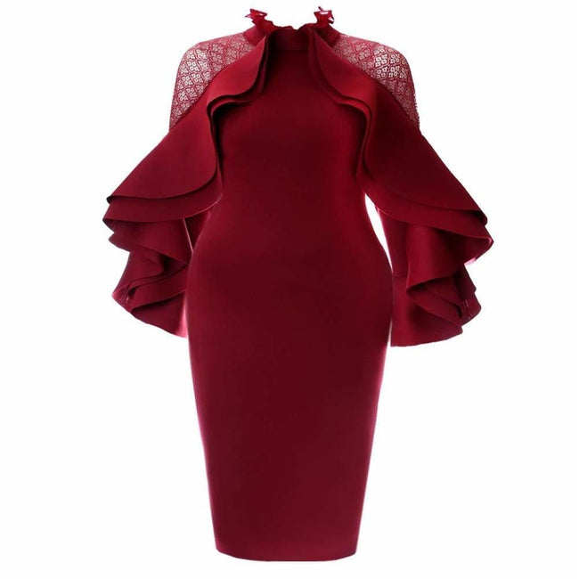 Plus Size Lace Insert Ruffle Sleeve Statement Dress, Burgundy