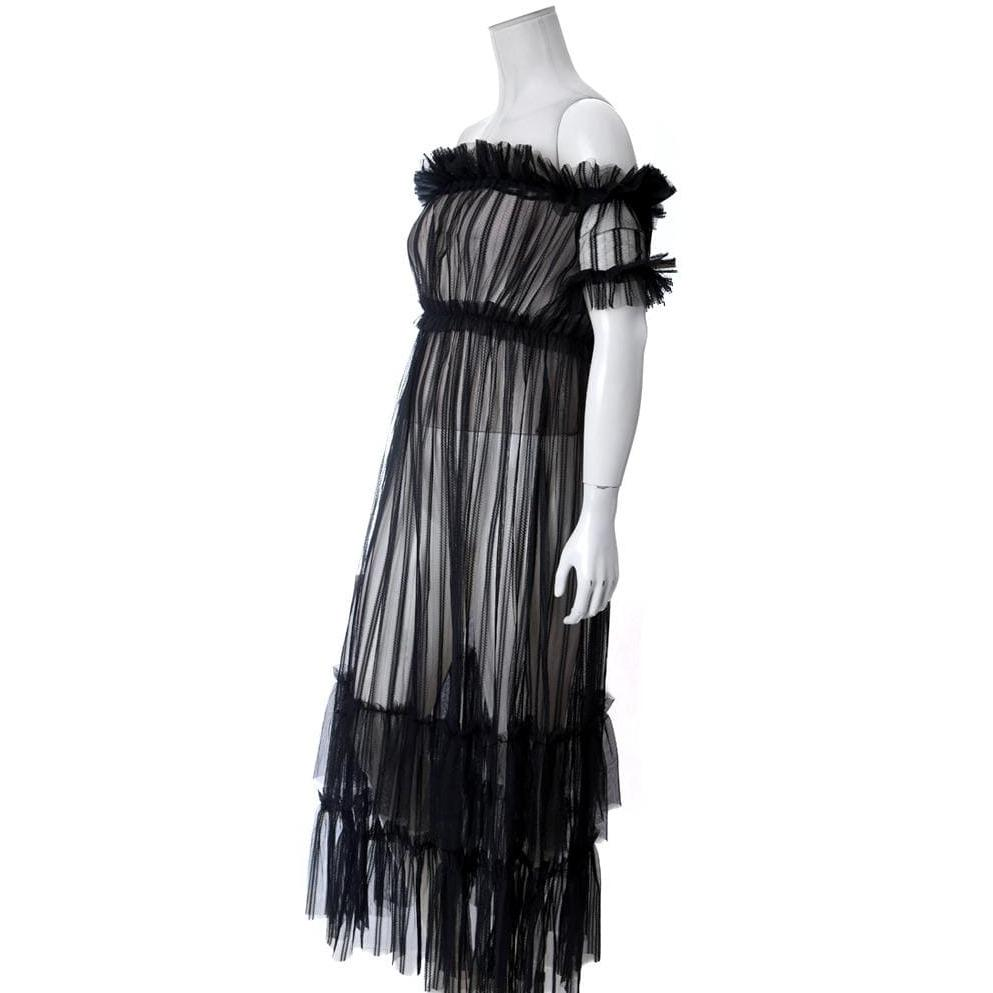 Plus Size Tiered Sheer Tulle Maxi Dress, Black