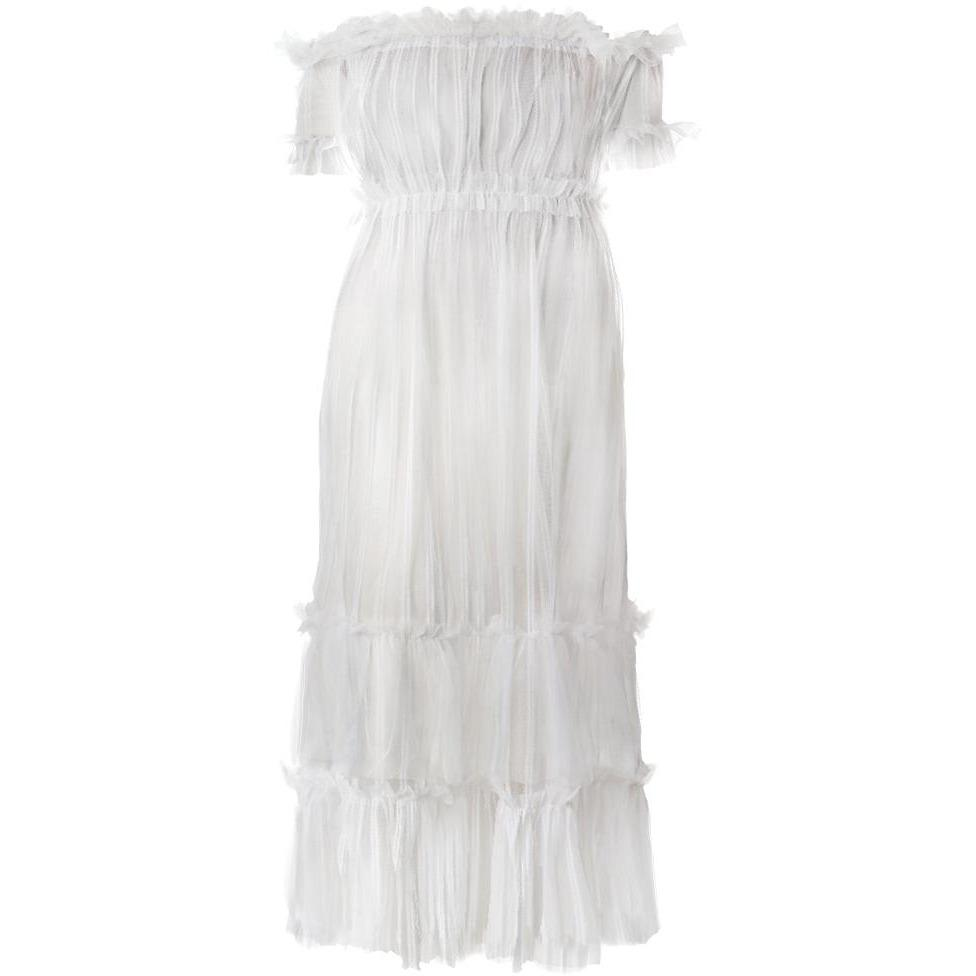 Plus Size Tiered Sheer Tulle Maxi Dress, White