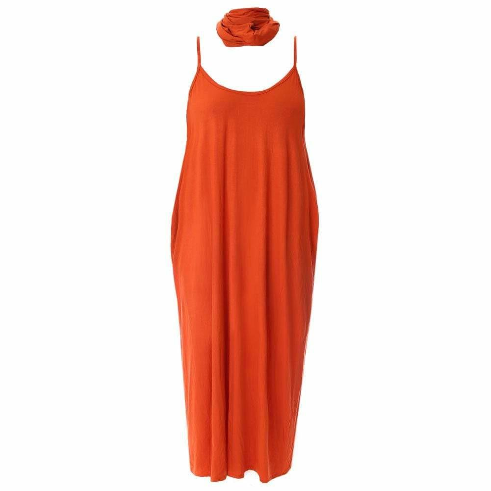 Posh Shoppe: Plus Size Spaghetti Strap Dress with Sash, Orange Dress