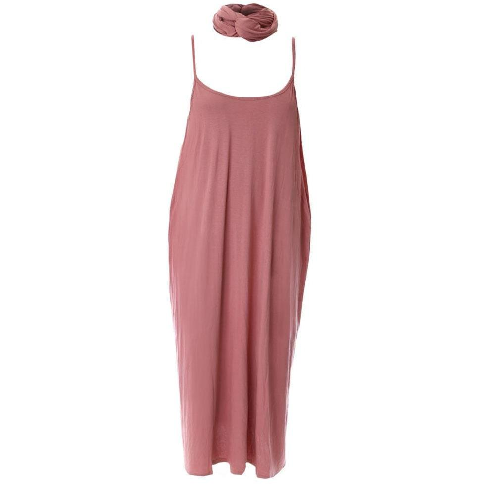 Posh Shoppe: Plus Size Spaghetti Strap Dress with Sash, Dusty Rose Dress
