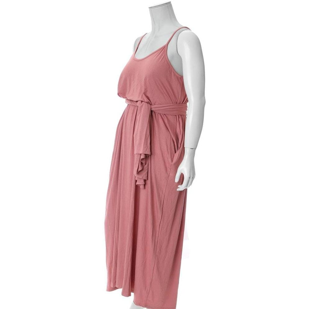Plus Size Spaghetti Strap Dress with Sash, Dusty Rose