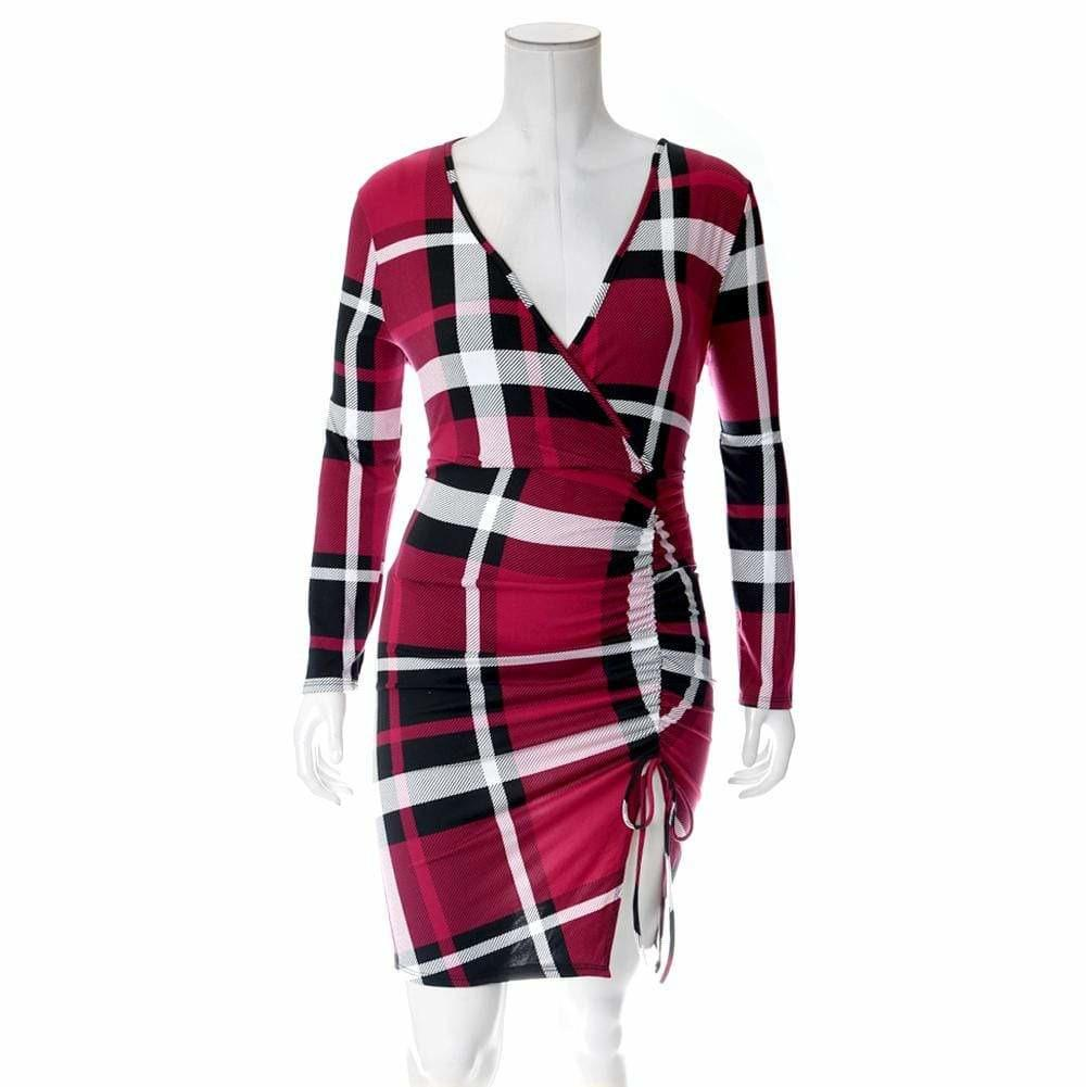 Plus Size Plaid Dress with Cinched Skirt, Red Plaid
