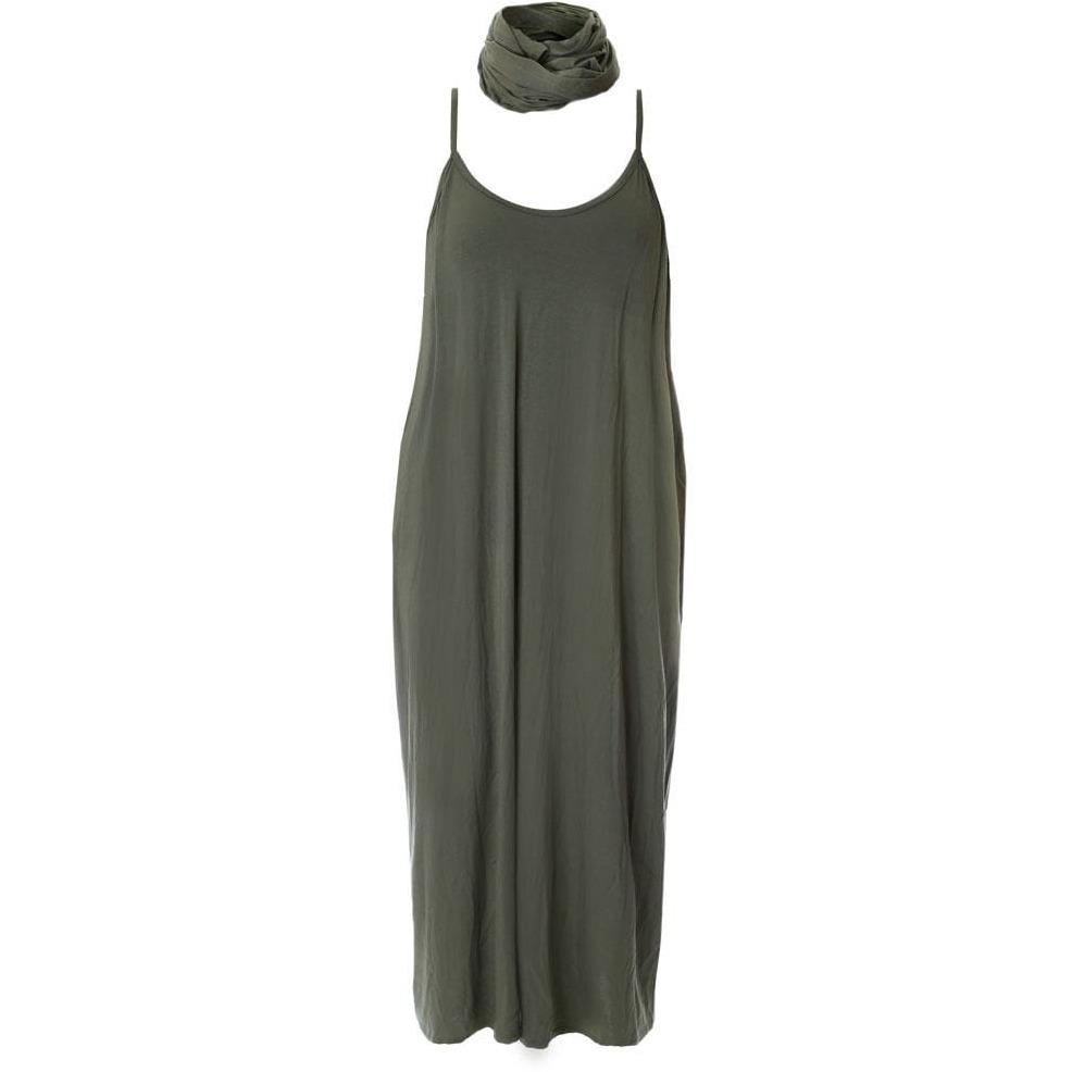 Posh Shoppe: Plus Size Spaghetti Strap Dress with Sash, Olive Dress