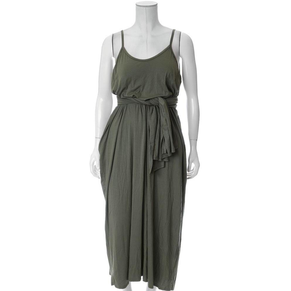 Plus Size Spaghetti Strap Dress with Sash, Olive