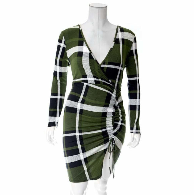 Plus Size Plaid Dress with Cinched Skirt, Olive Plaid