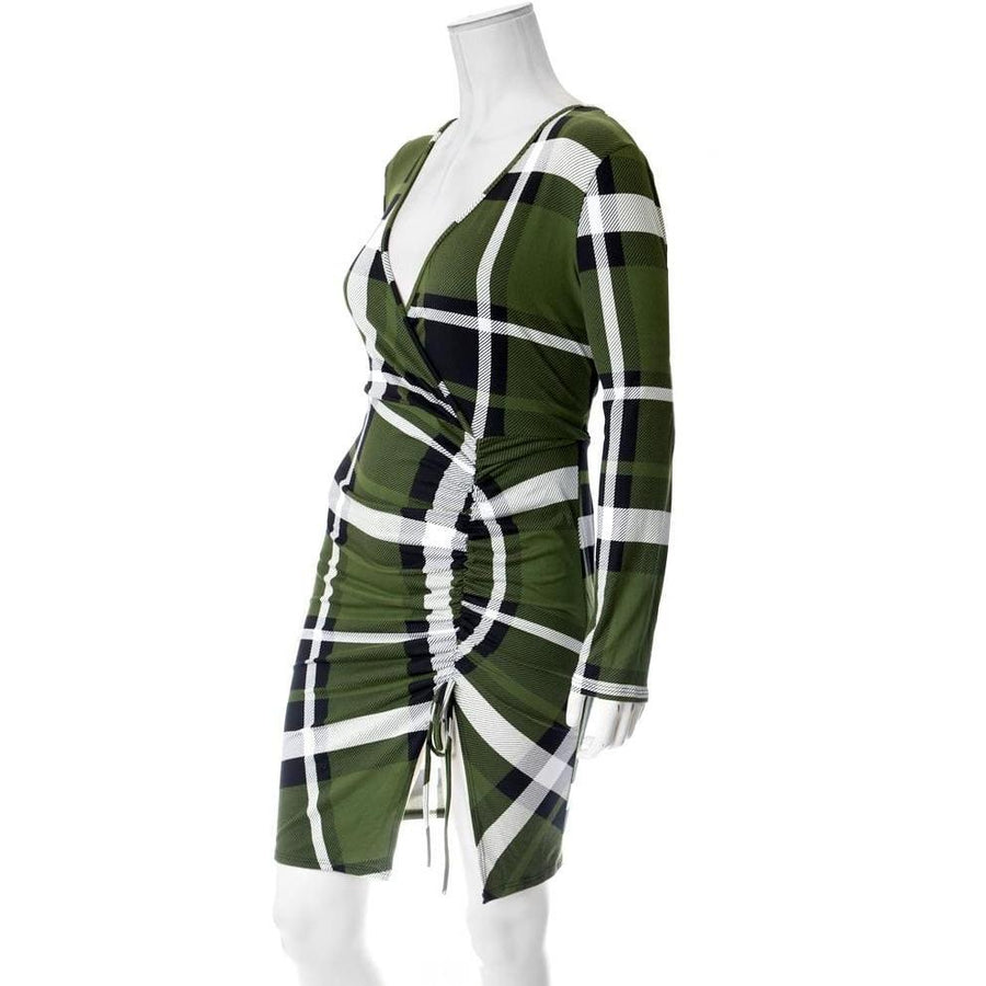 243df315dba Plus Size Plaid Dress with Cinched Skirt