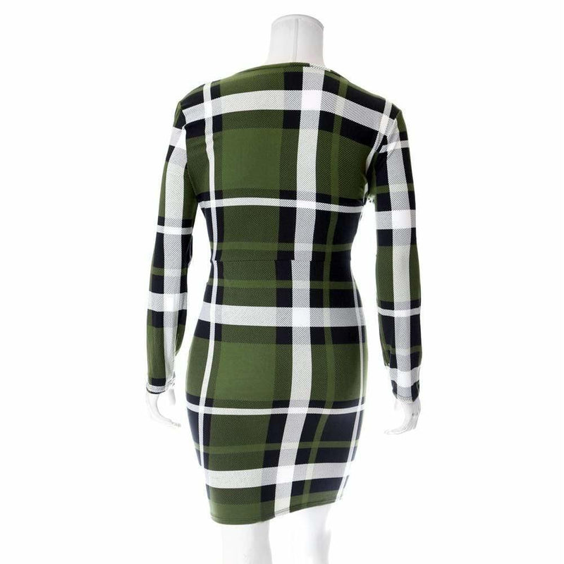 Posh Shoppe: Plus Size Plaid Dress with Cinched Skirt, Olive Plaid Dress