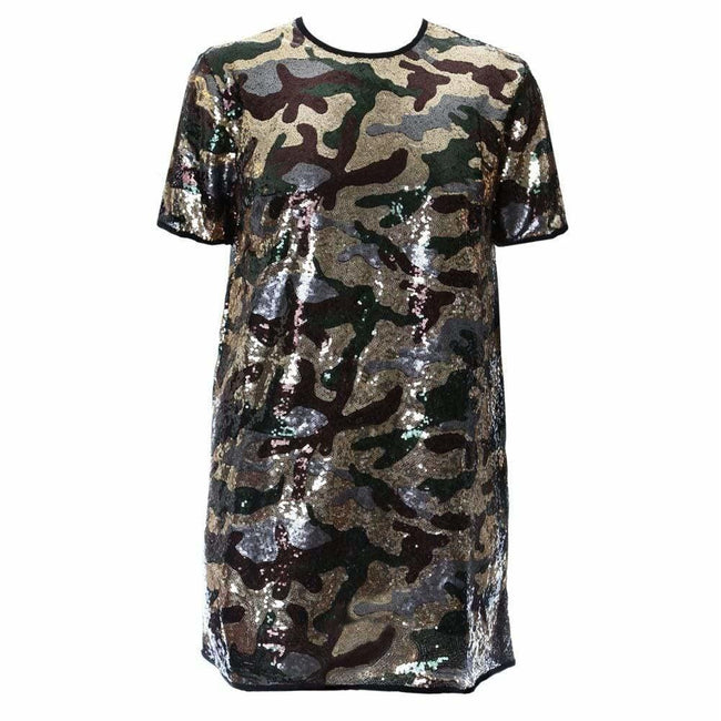Plus Size Sequins Camo T-Shirt Dress