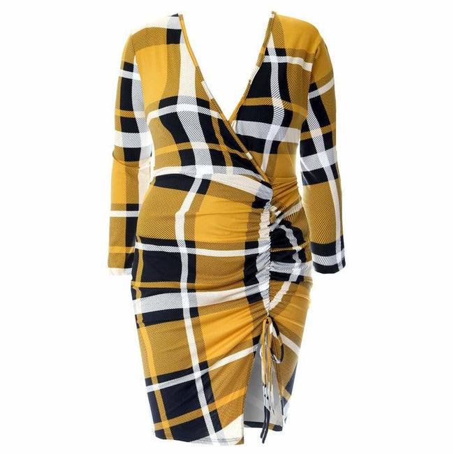 Plus Size Plaid Dress with Cinched Skirt, Mustard Plaid