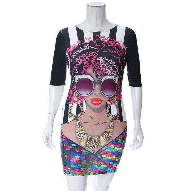 Posh Shoppe: Plus Size 3/4 Sleeve Graphic Print T-Shirt Dress Tops