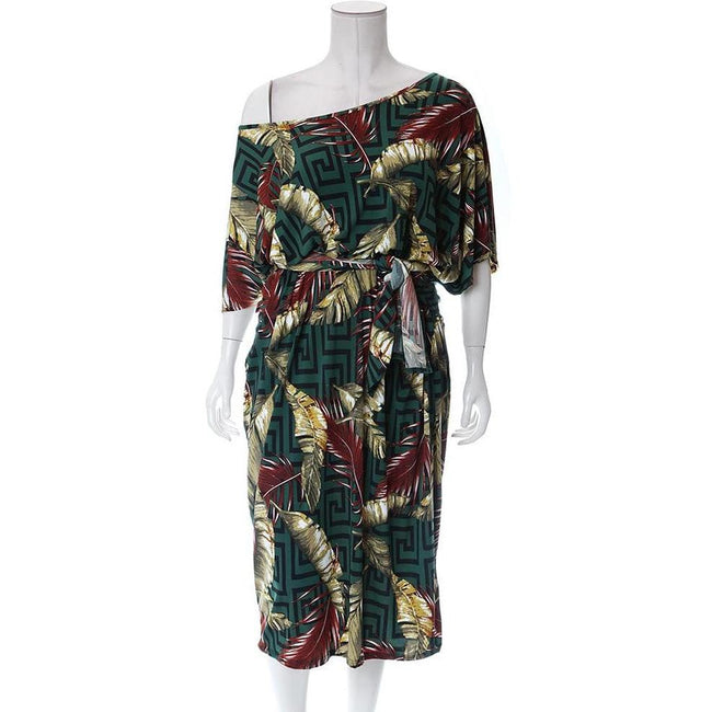 Plus Size Printed Tunic Dress with Sash