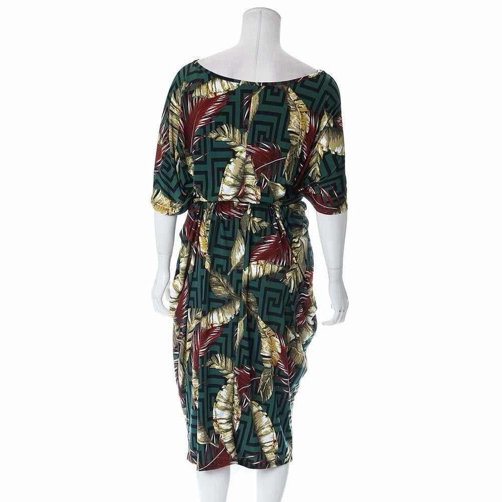 Posh Shoppe: Plus Size Printed Tunic Dress with Sash Dress