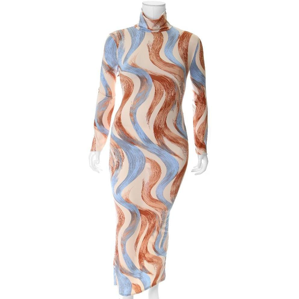 Posh Shoppe: Plus Size Turtleneck Maxi Bodycon, Peach Swirl Dress