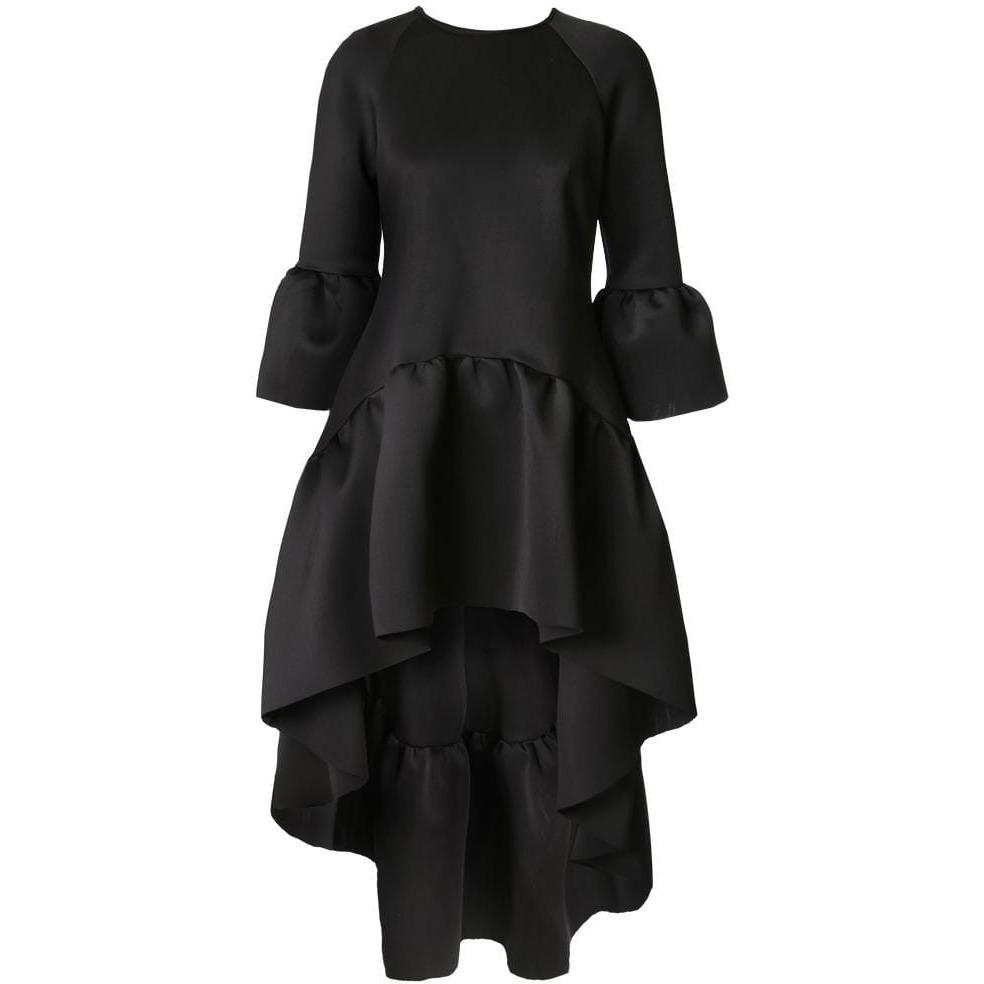 Plus Size High Low Bell Sleeve Dress, Black