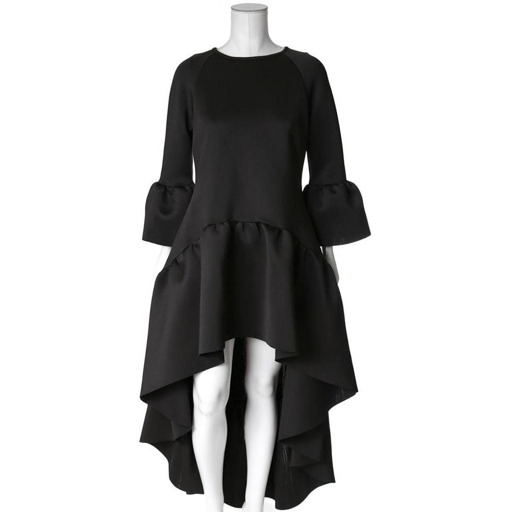 Posh Shoppe: Plus Size High Low Bell Sleeve Dress, Black Dress