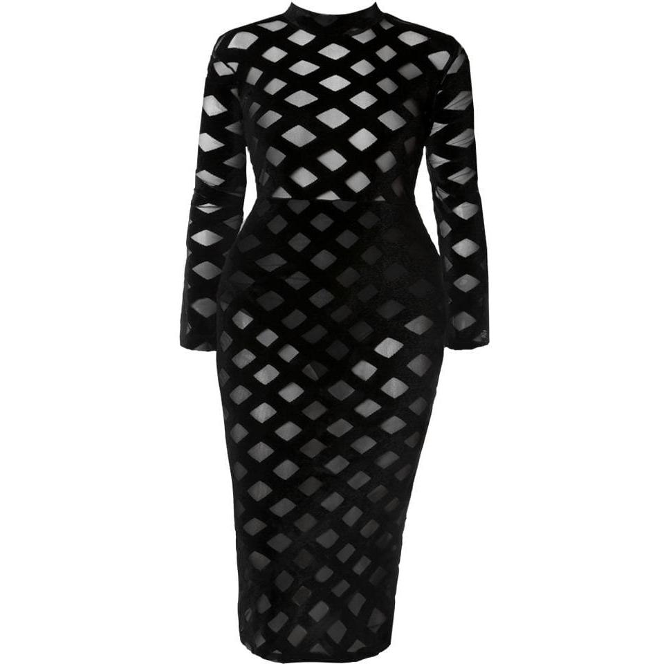 Plus Size Velvet and Mesh Windowpane Dress