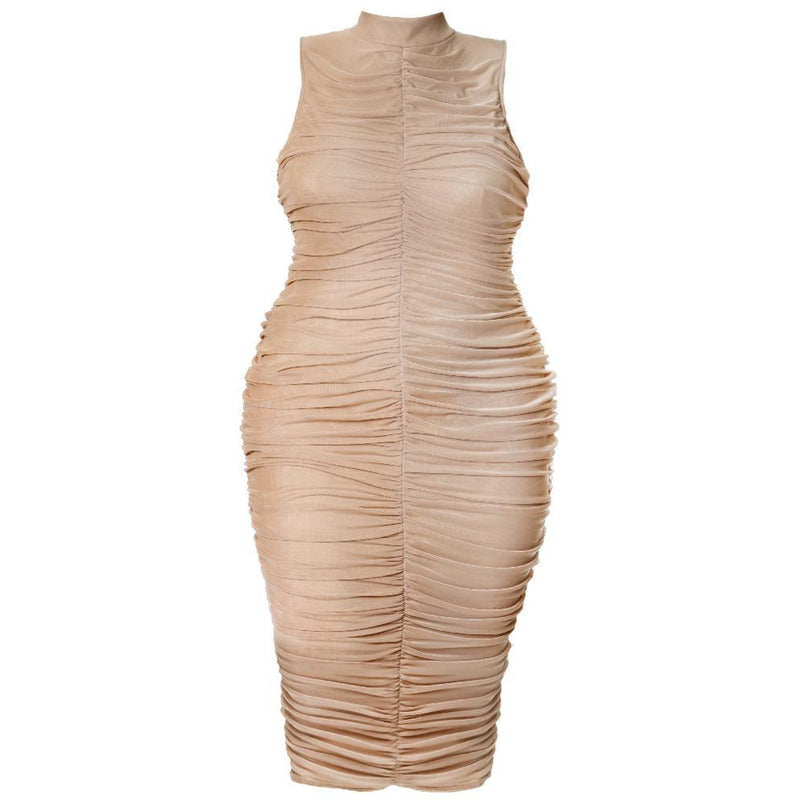 Plus Size Turtleneck Maxi Bodycon, Peach Swirl