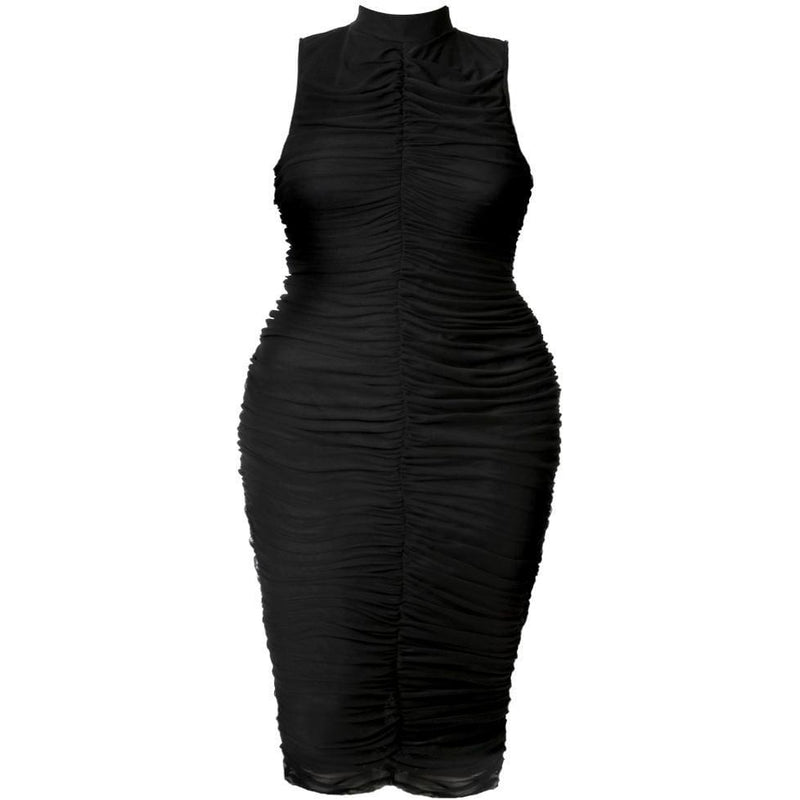 Posh Shoppe: Plus Size Ruche Mock Neck Sheer Midi, Black Dress