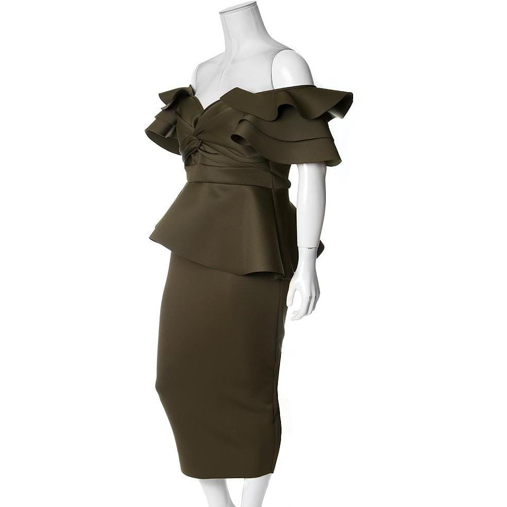 Posh Shoppe: Plus Size Twist Front Off the Shoulder Midi Dress, Olive Dress