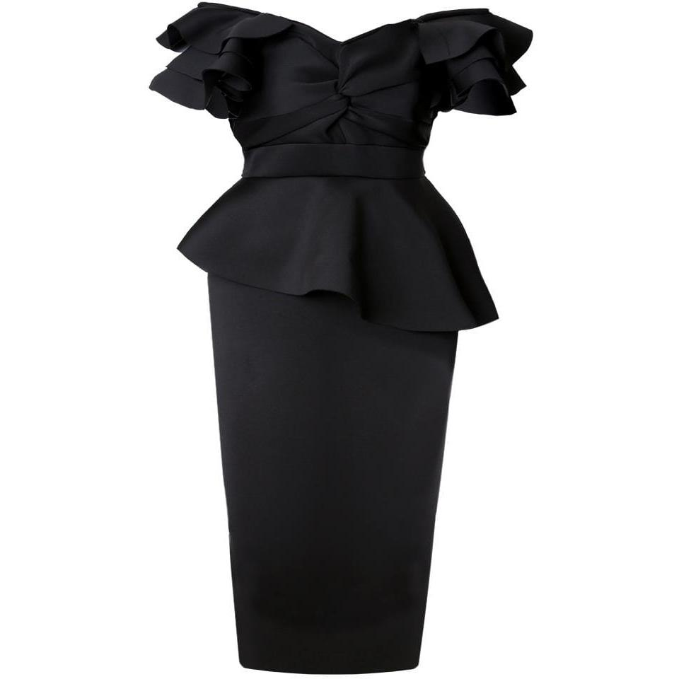 Posh Shoppe: Plus Size Twist Front Off the Shoulder Midi Dress, Black Dress
