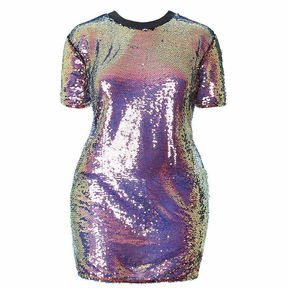 Plus Size Mermaid Sequin T Shirt Mini Dress