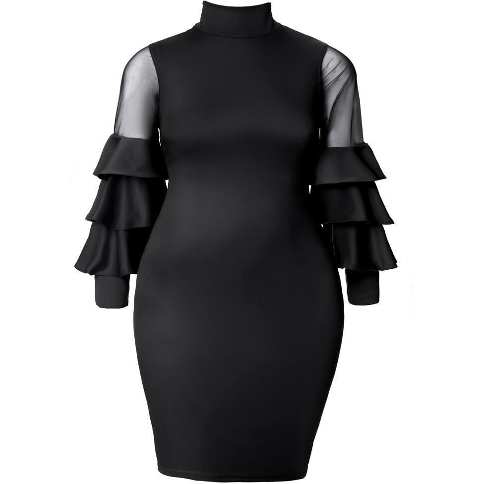 Plus Size Tiered Bell Sleeve Midi Dress, Black