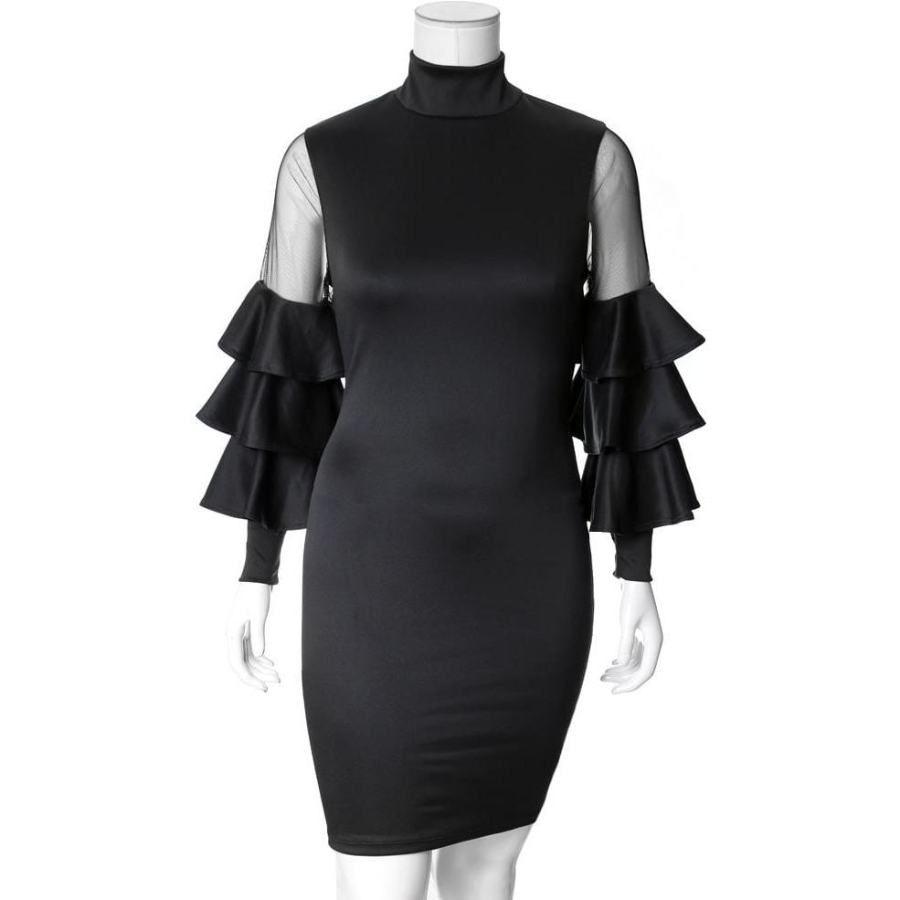 Posh Shoppe: Plus Size Tiered Bell Sleeve Midi Dress, Black Dress