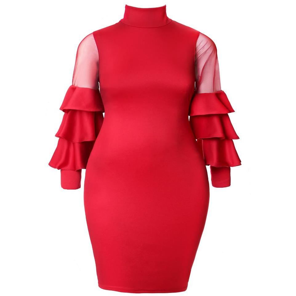 Posh Shoppe: Plus Size Tiered Bell Sleeve Midi Dress, Red Dress