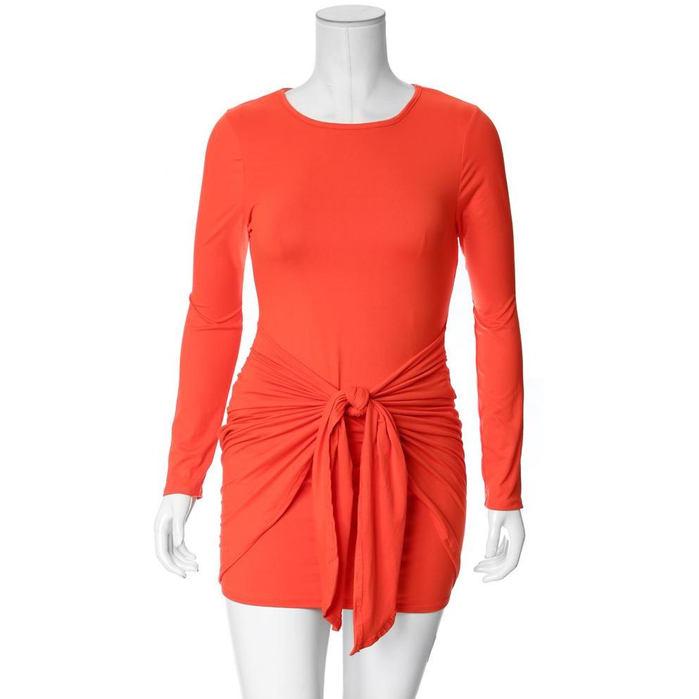 Posh Shoppe: Plus Size Sarong Skirt Mini Dress, Vibrant Orange Dress