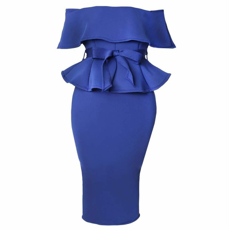 Posh Shoppe: Plus Size Peplum Top & Pencil Skirt Coordinated Set, Royal Dress