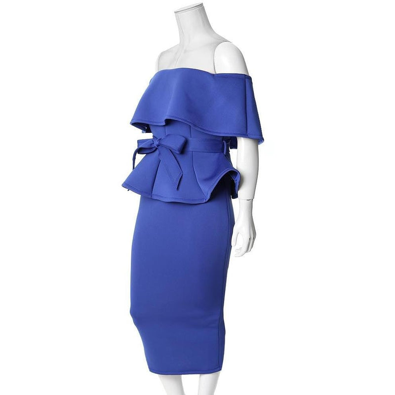 Plus Size Peplum Top & Pencil Skirt Coordinated Set, Royal