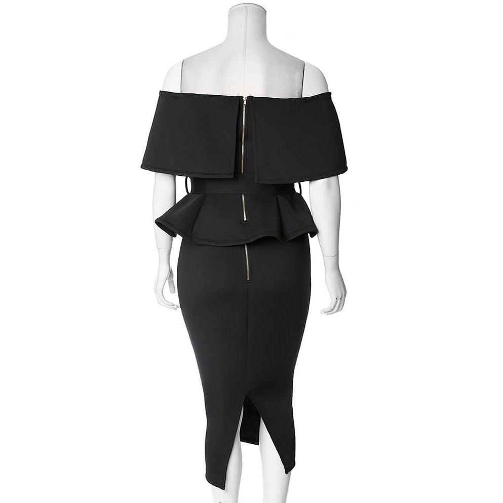 Posh Shoppe: Plus Size Peplum Top & Pencil Skirt Coordinated Set, Black Dress