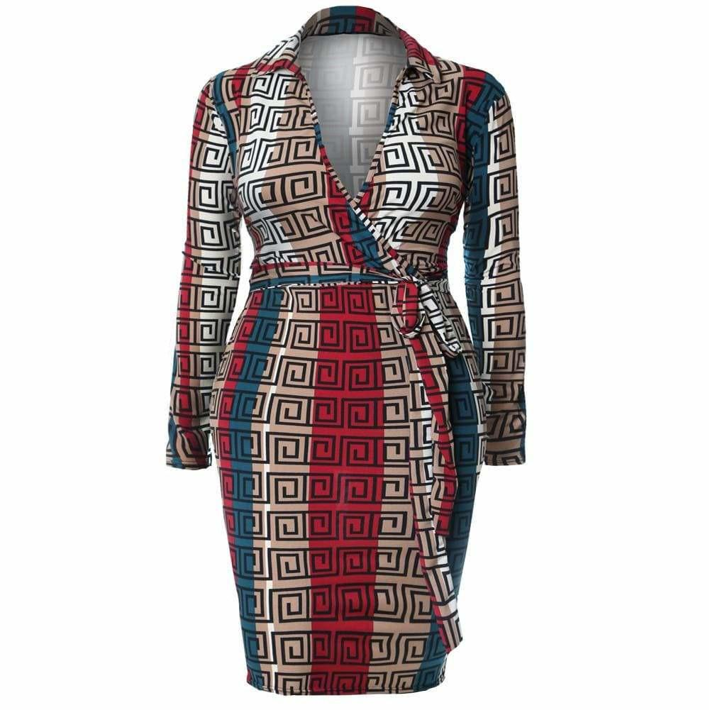 Plus Size Printed Jersey Faux Wrap Dress