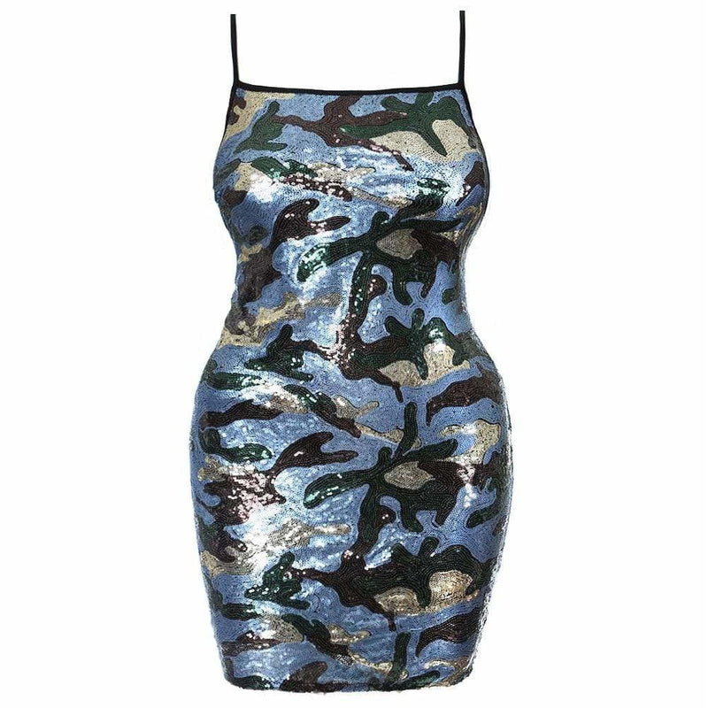 Plus Size Sequin Front Mini Dress, Blue Camo