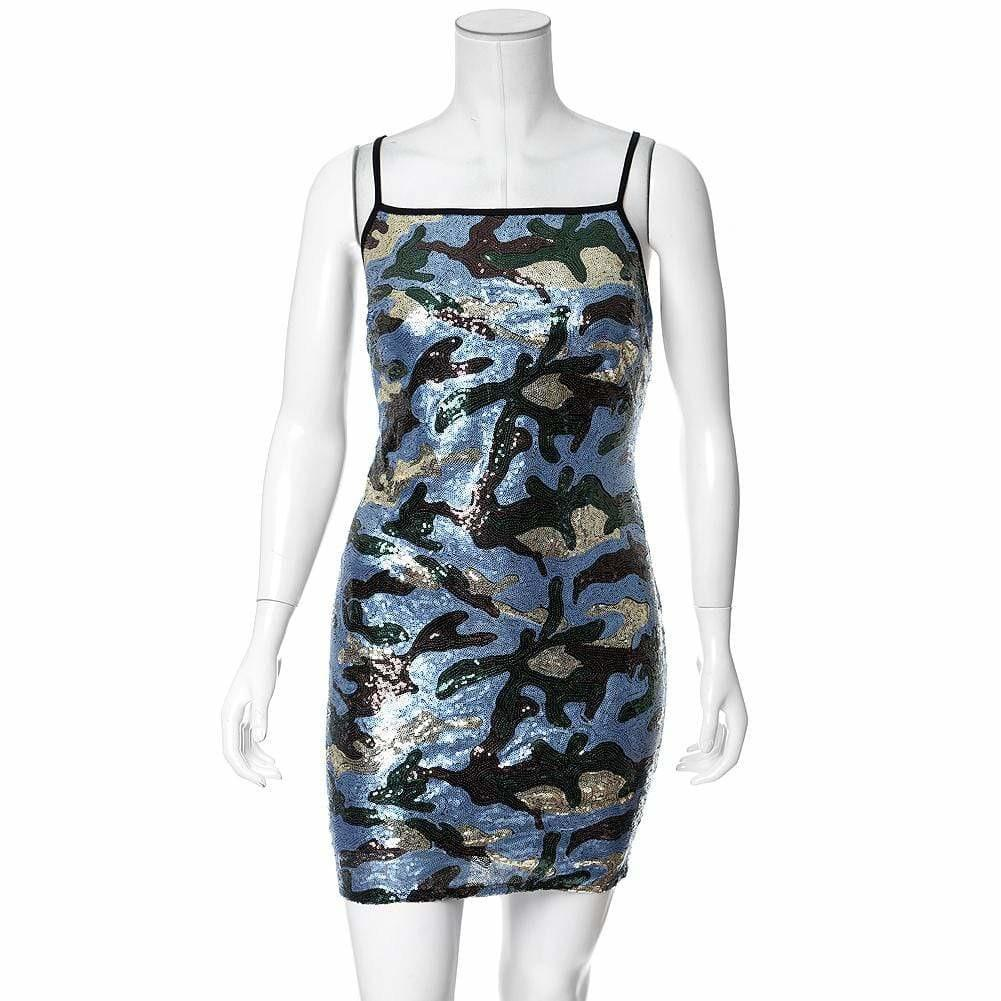 Posh Shoppe: Plus Size Sequin Front Mini Dress, Blue Camo Dress