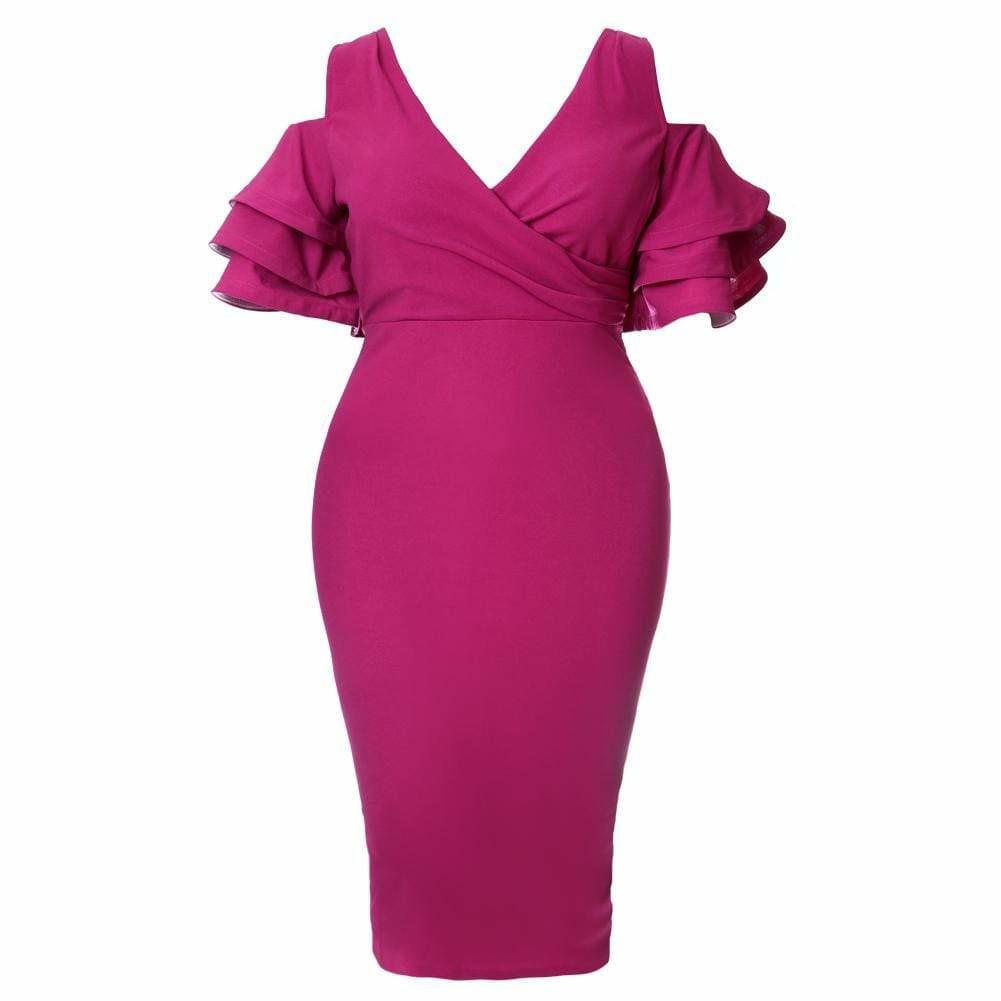 Plus Size Ruffled Cold Shoulder Midi Dress, Berry