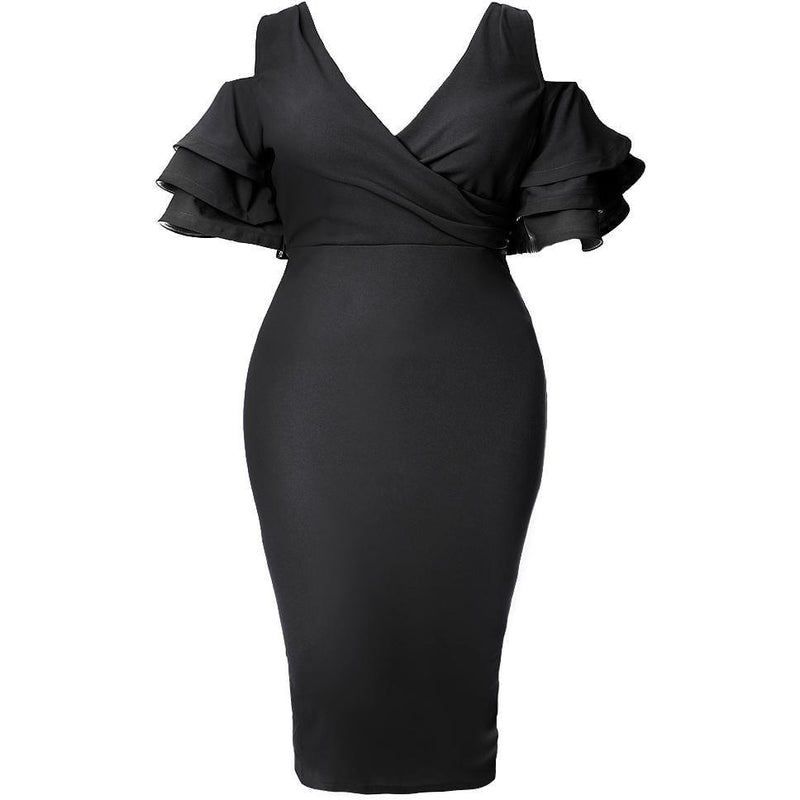 Plus Size Ruffled Cold Shoulder Midi Dress, Black