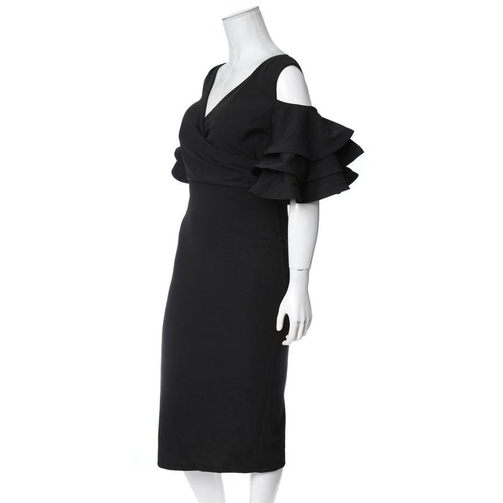 Posh Shoppe: Plus Size Ruffled Cold Shoulder Midi Dress, Black Dress