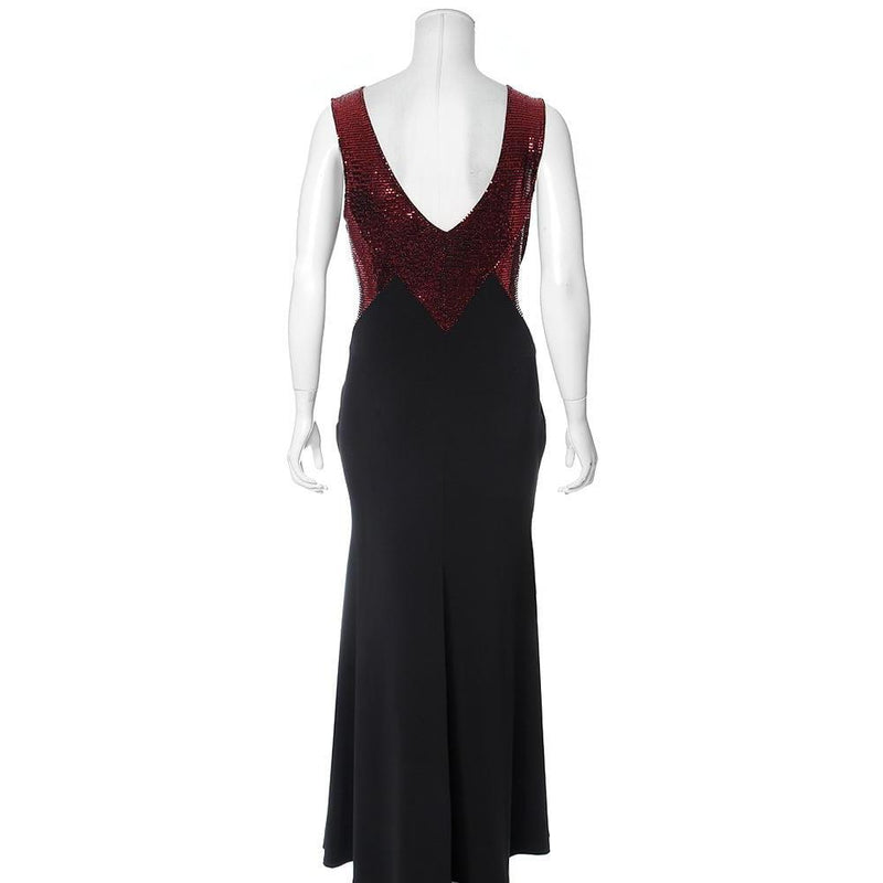 Posh Shoppe: Plus Size Sequin Trim Evening Dress, Ruby Dress