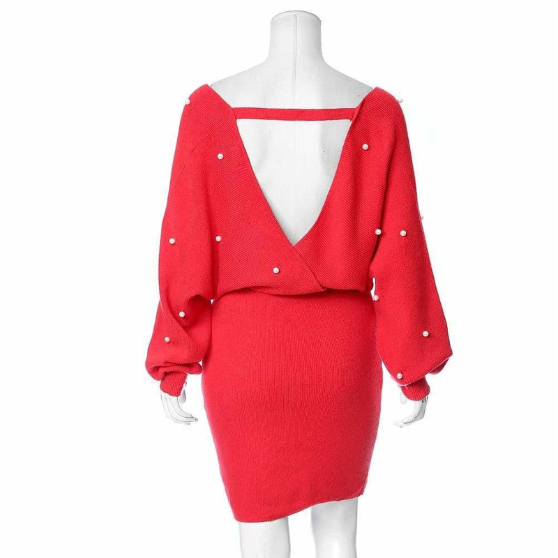 Plus Size Pearl Embellished Sweater Dress, Red